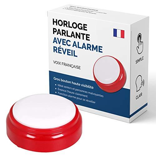 Horloge Parlante Voix Française pour Personnes agées, Alzheimer, Malvoyantes ou Aveugles - Idée Cadeau Grand Parents, Père ou Mère - Réveil Alarme Senior