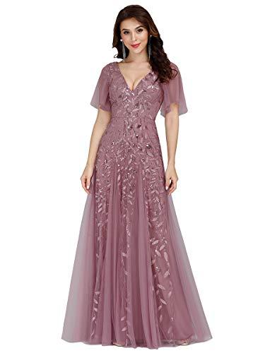 Ever-Pretty Vestidos de Fiesta Mujer Largo Tul Lentejuelas Escote V A-línea Elegantes Orquídea 38