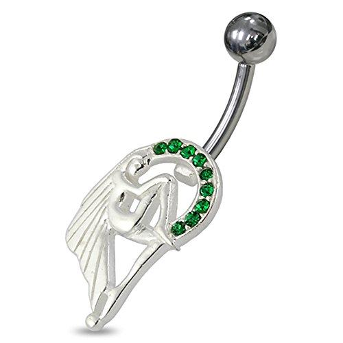 Jeweled engel zitten in een cirkel van sterling zilveren staafjes buikpiercing.