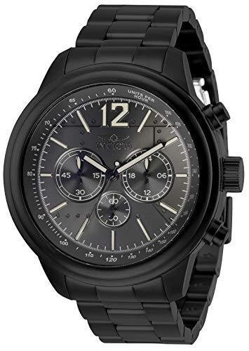 Invicta Aviator 28899 - Reloj de cuarzo para hombre con correa de acero inoxidable, color negro, Grande