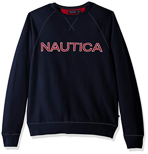 Nautica Fleece Graphic Crew Sudadera, Azul (Navy 4nv), Medium (Tamaño del Fabricante:M) para Hombre