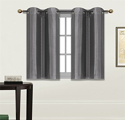 """Elegant Home 2 Panels Tiers Grommets Small Window Treatment Curtain Faux Silk Semi Sheer Drape Short Panel 28"""" W X 36"""" L Each for Kitchen Bathroom or Any Small Window # N25 (Charcoal)"""
