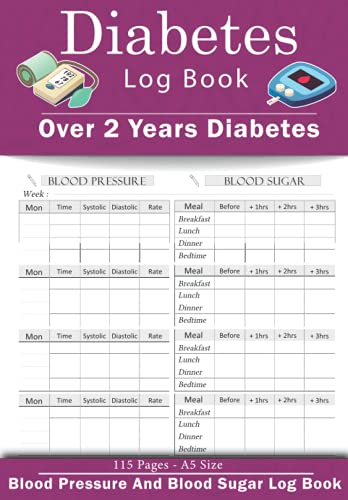 Diabetes Log Book: Two in One,Over 2 Years Diabetes | Diabetes, Heart Rate Monitor Journal, Glucose | great Diary For Men, Women, Elderly, Adults | Tracker 4 Record a Day Health Journal Diary | A5