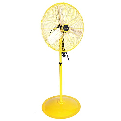 STANLEY 24 Inch Oscillating Industrial High Velocity Pedestal Fan Direct Drive All-Metal Construction, 3 Speed Settings, (ST-24POSC)