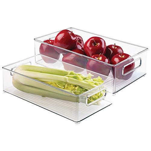 mDesign set da 2 contenitori per frigorifero ? Contenitore alimenti con manici ? Pratici contenitori di plastica perfetti per congelatore o frigo ? Colore: trasparente
