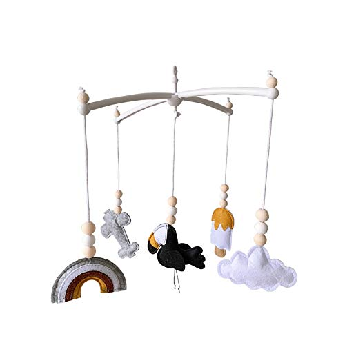 Bola de fieltro móvil, soporte móvil de cuna soporte giratorio de 360 grados DIY cama campana colgando juguetes bebé caja musical sonajero juguetes