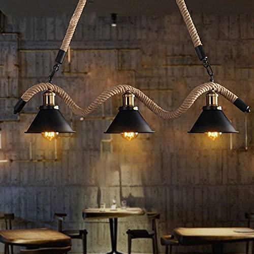 LZLYER Lámpara de Pared Candelabro Viento Industrial Islas de 3 Cabezas Barras de Comedor American Retro Individualidad Tienda de Ropa Creativa Lámpara Colgante de Cuerda de Café Neto E27 Tapa de Lám