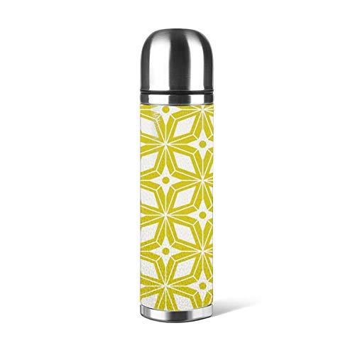 Art Fan-Design - Botella de agua de acero inoxidable con diseño de estrella de mediados de siglo, geométrico moderno y geométrico amarillo cítrico aislado al vacío de cuero a prueba de fugas de doble pared contenedor de viaje termo de 500 ml