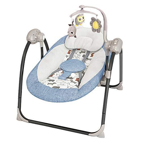 LLZH Columpio Automático para Bebé, Mecedora Eléctrica Plegable, Hamaca Bebé Compacto, Cama Mecedora Ampliada, Ajustable de 5 velocidades, con Música y Bluetooth,Azul