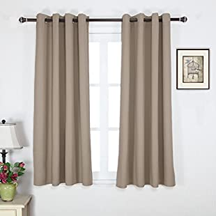 Cherry Home Room Darkening Curtains / Drapes For Kitchen - Back Tab / Rod Pocket - Taupe / Khaki - 52 Width X 96 Drop - (One Pair):Savelaguasia