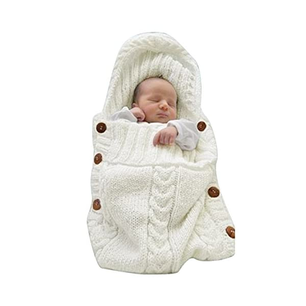 XMWEALTHY Newborn Baby Wrap Swaddle Blanket Knit Sleeping Bag Receiving Blankets Stroller Wrap for Baby(Beige) (0-6 Month)