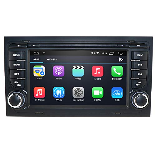 Reproductor de Audio para automóvil Android 10 para Audi A4 B6 y B7(8E/8H)/S4 B6 y B7(8E/8H)/RS4/RS4 B7(8E)/Seat Exeo, Soporte de Radio de Coche Doble DIN iOS y Android Mirror-Link Bluetooth WiFi