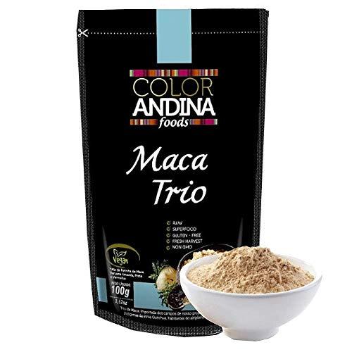 Trio de Maca Peruana (Preta, Vermelha e Amarela) Color Andina Food, 1 StandUps de 100g