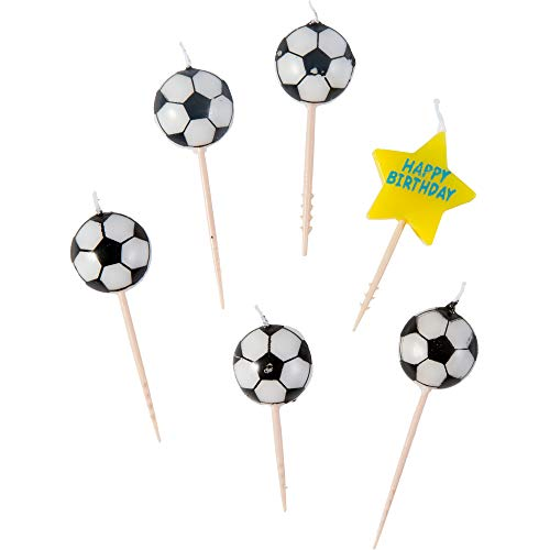 amscan Soccer Birthday Toothpick Candle Set, Party Decoration, Black / White, 3'