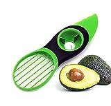 Cortador de Aguacate - Pelador Aguacate con Cuchilla de Acero Inoxidable y Mango de Silicona - Utensilio 3 en 1
