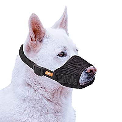 wintchuk Soft Dog Muzzle with Mesh Design, Breathable Dog Mouth Cover for Small Medium Large Dogs, Anti-Biting Barking Chewing (S,Black)