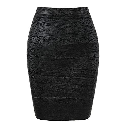 Skirts Women Summer Sexy Black Silver Gold Bandage High Street Designer Skinny Club Party Mini Pencil Black-L