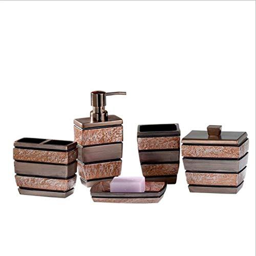 Accesorios de baño Conjunto de Accesorios de baño de Resina Retro Dispensador de jabón/Portacepillos de Dientes/Vaso/Jabonera/Caja de Almacenamiento de 5 Piezas Set de Accesorios de baño