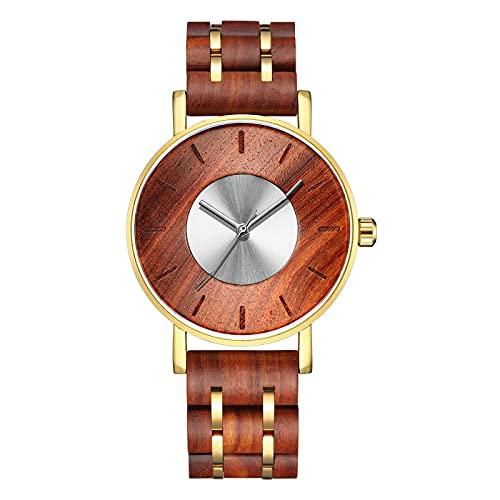 Relojes de Madera para hombreReloj de Madera para Hombre con Pulsera Plateada