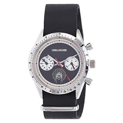 Zadig & Voltaire Unisex Analog Quarz Uhr mit Leder Armband ZVM107