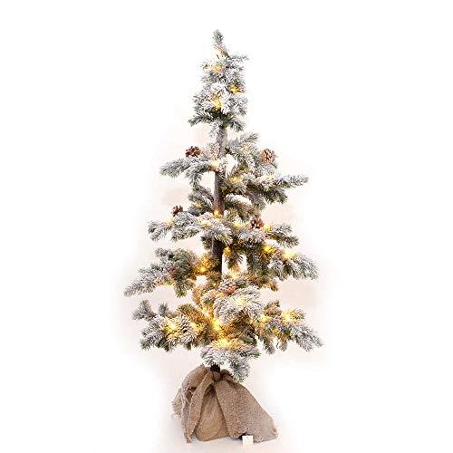 SHATCHI Table Mantel Centrepiece Pre Lit LED Kerstmis Frosted Tips met dennenappels Flocked Sneeuw bedekt kerstboom met jute basis voor decoratie