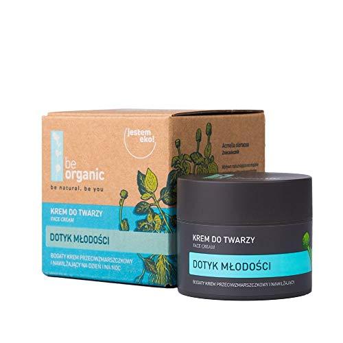 Be Organic, Crema facial Touch of Youth, 50 ml - natural, rica fórmula antiarrugas crema hidratante para día y noche. 98% de ingredientes de origen natural. Vegano, hipoalergénico