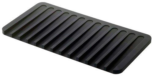 YAMAZAKI home 7448 Self Draining Tray-Drying Board, Dish Drainer Mat, Black