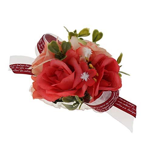 FLAMEER Hochzeit Handgelenk Blumenarmband Armreife mit Seidenblumen Deko, passt an Allen Abendkleid und Brautkleid - Rot