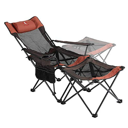QUYUAN 2 in 1 Camping Chair with Footrest Recliner Folding Chaise Lounge Chair for Fishing, Beach
