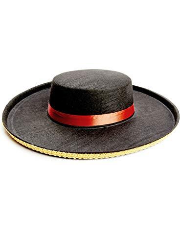 Funidelia | Sombrero de cordobs para Hombre y Mujer Sevillana, Cordobs, Espaa - Color: Negro, Accesorio para Disfraz - para Tus Fiestas de Disfraces, Halloween y Carnaval