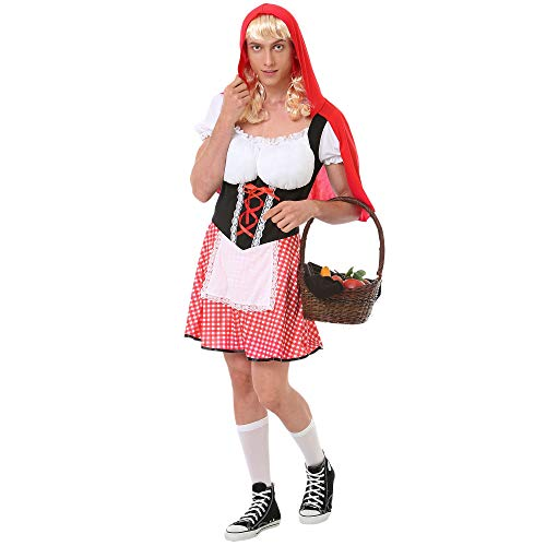 Burly Red Riding Hood Costume – Funny Adult Halloween Costumes for Men (Medium)