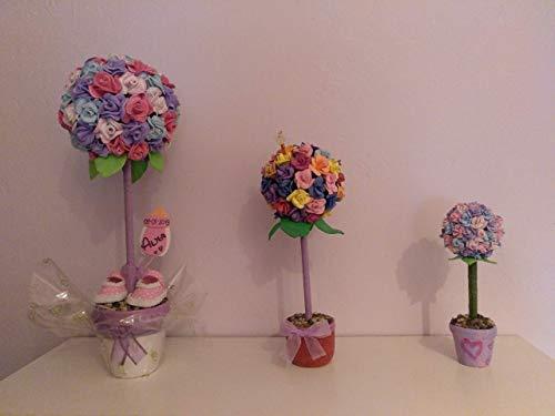 Topiario Artificial de Rosas en Goma Eva para Decoración, Bodas, Bautizos y Comuniones