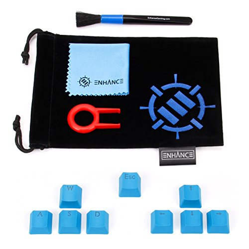 ENHANCE PBT Keycaps Set Doubleshot Key Caps Gaming Upgrade Kit - Plastic Backlit Clear WASD Keycaps Compatible with Mechanical Switches - Keycap Puller, Dust Brush and Microfiber Cloth - Blue
