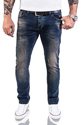Rock Creek Designer Herren Jeans Hose Stretch Jeanshose Basic Slim Fit [RC-2116 - Blue Vintage - W40 L36]