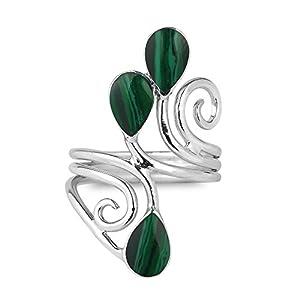 Floral Vine Ornate Teardrop Green Malachite Sterling Silver Ring (9)