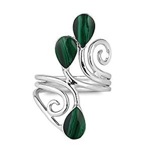 Floral Vine Ornate Teardrop Green Malachite Sterling Silver Ring (9)