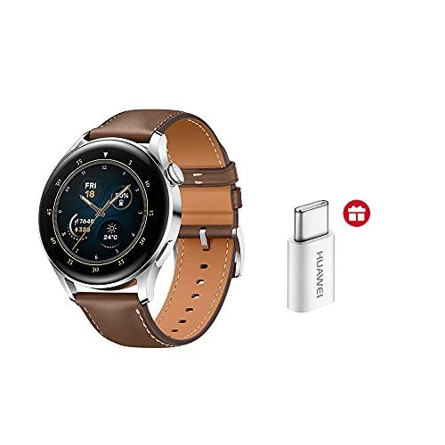 Huawei Watch 3 Smartwatch 4G + Adaptador Tipo C AMOLED Pantalla 1.43' eSIM GPS Correa de Cuero Marrón