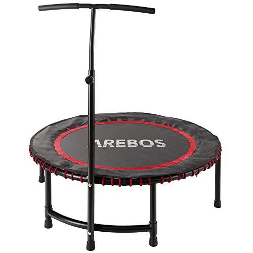Arebos Fitness-Trampolin Fitnesstrampolin Trampolin mit Haltegriff/Max bis 120 kg/TÜV geprüft/Fitness Rebounder für Körpertraining und Cardio Workouts/Leise Gummiseilfederung/Rund/Rot