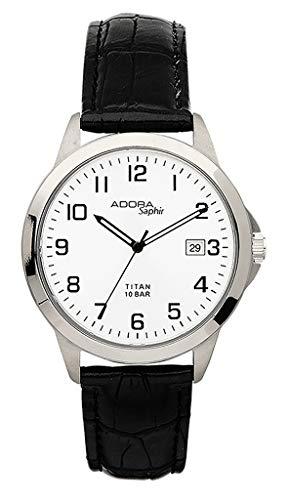 Adora Saphir Ø 37mm Quarzuhr Titan Armbanduhr 10 BAR Herrenuhr Analog Lederband Datumsanzeige