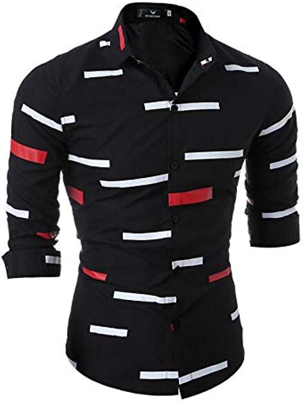 Men's Basic Plus Size Slim Shirt  Striped Print Long Sleeve