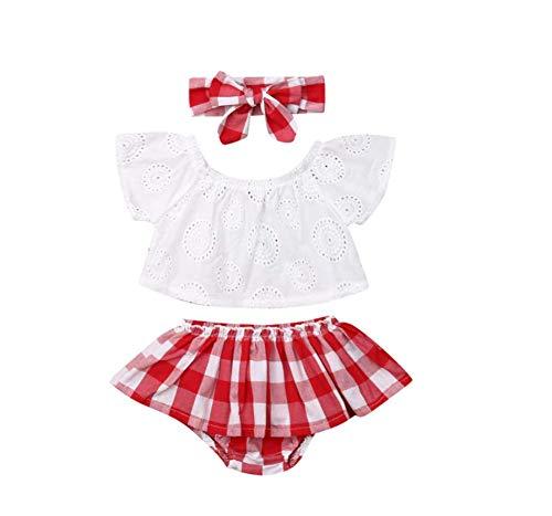 Top Bloguerinha Bebê Menina Calcinha Saia Xadrez Vermelho Tamanho:1 a 2 Anos;Cor:Branco