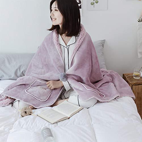 DINFO 着る毛布 ポンチョ 毛布 着るブランケット ルームウェア 肩掛け 静電気防止 厚手 あったか もこもこ ランケット 洗濯可能 冷房対策 ブランケット 寒さ対策 ひざ掛け レディース メンズ (ライラック, 80 x 200 cm)