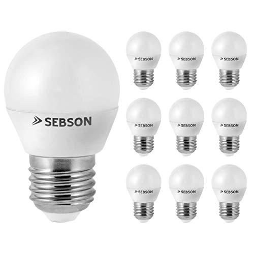 SEBSON E27 LED Lampe 5W 400lm, ersetzt 35W, LED Leuchtmittel warmweiss 2900K, 160°, E27 Birne, Tropfenlampe, 10er Pack