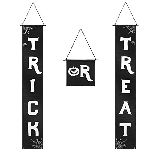 BESPORTBLE 3PCS Trick or Treat Banner Halloween Hanging Sign for Front Door Indoor Display, Gate, Garden, Party, Porch, Office Home Decorations
