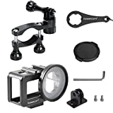 2-In-1All Aluminum Compatible with Camera Bicycle Mount/Camera Motorcycle Mountand Aluminum Alloy Case Set,Compatible for DJI Osmo Action Camera Case, with 52mm UV Filter and Lens Cap with Rear Door.
