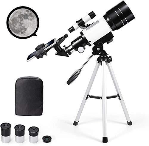 HZWLF Regalo Telescopio astronómico Zoom 150X HD Telescopio Espacial monocular Refractor de Ciencia educativa con trípode 300/70 mm Alcance de detección para niños Principiantes - Uverbon
