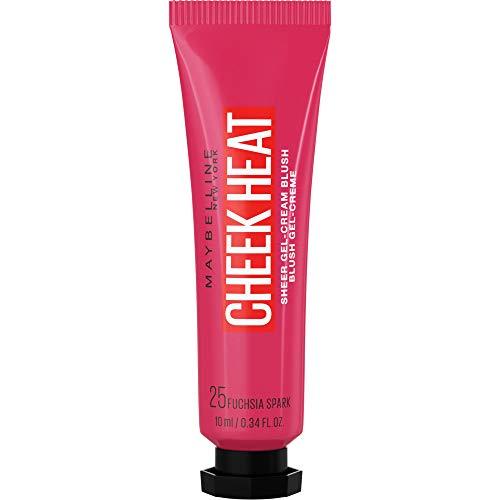 Maybelline New York Cheek Heat Blush, Rouge, Gel-Formel, wasserbasierte Farbpigmente, glossyglänzendes Finish, Nr. 25 Fuchsia Spark