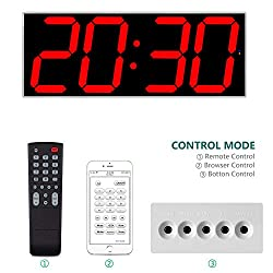 West Ocean 6 Digital Smart Large LED Wall Clock Jumbo Display with Remote Control/WiFi Control via Internet and Countdown Timer Multifunction
