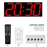 West Ocean Digital LED Wall Clock Large Oversized Display with Wireless Remote Smart Control and Countdown Alarm Multifunction