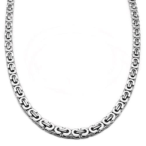 """8/"""" 32/"""" argenté en acier inoxydable 5 mm byzantine Box Link collier bracelet petites"""